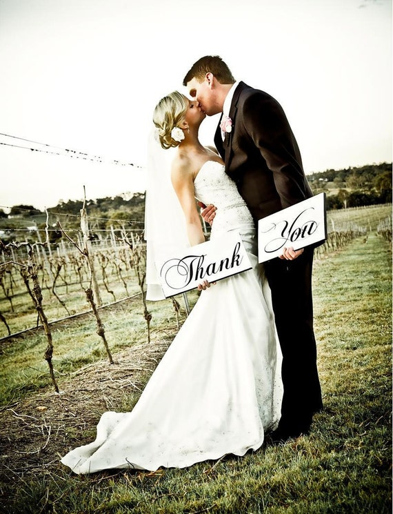 Thank You Signs, Photo Props, Thank You Notes, Wedding Photos, Reception Signs, Thank You Wedding Signs. Two (2) Signs, 8 X 16 inches.