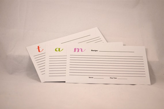 Monogrammed 3x5 Recipe Cards set of 20 - Pick your letter and color