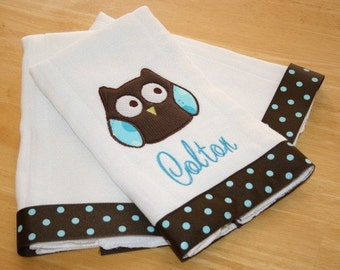 Cutie Owl Personalized Embroidered/Appliqued Burp Cloth Set of 3 - Boy Colors