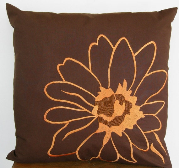 "Sale 20% off - Embroidered Decorative Pillow Cover - Daisy - 18"" x 18"" (READY TO SHIP)"
