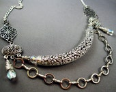 Morgaine Necklace - Mystical, Crystalline Glass with Heavy, Ornate Silvertone Metal