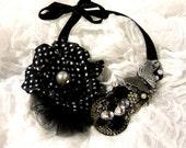 Polk A Dot retro Pearl Crystal Feather Parisian Bombshell Bib Necklace Pin Up Sexy