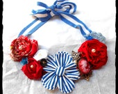 Retro Americana Bib Necklace Red White Blue Womens Jewelry Patriotic Shabby chic rustic country Statement necklace