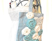 Rose tote Bag, Shabby chic, country chic purse, embellished, sky blue, romantic, vintage doily, handmade, summer