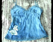 Rustic Blue Silk Top Romantic Vintage Lace n Silk Cami Camilsole Hand dyed Funky Country chic French Market Couture