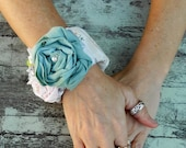 Romantic fabric bracelet, Shabby chic cuff, bridal corsage, french country, cottage chic, bohemian beach girl