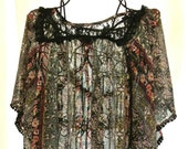 Spring Floral print boho chic Shirt Poncho Bohemian butterfly lace shirt top Sprin fashion Upcycled sheer shirt Hippie chic