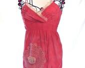 Pink gypsy tunic, bohemian camisole shirt, womens clothing, boho chic, cottage, doily Xtra Large