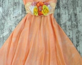 Romantic Country chic sundress, Cottage chic slip dress, vintage circle skirt, Coral, Tangerine, rustic, mad men, womens clothing