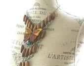 RESERVE CARLA ANN Butterfly beaded boho necklace, bib necklace, hippie chic statement necklace, retro, urban funky, handmade