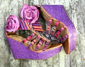Boho tribal wedge heels,RESERVE for Sue, bohemian, boho chic shoes, womens shoes,