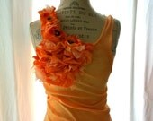 Romantic floral tunic, shabby tangerine tank, womens clothing, true rebel clothing, french market, paris boutique