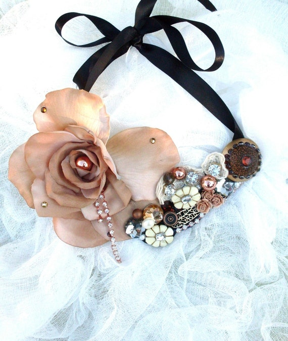 Bridal Bib Necklace Wedding Statement Necklace Shabby Chic French Market Antique Victorian Rose