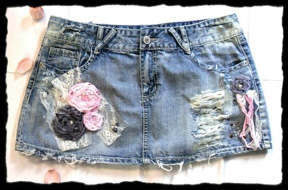 Destroyed Denim Embellished Skirt Shabby chic Micro Mini Skirt Urban Chic Tattered ripped Funky Fleur de lis pockets