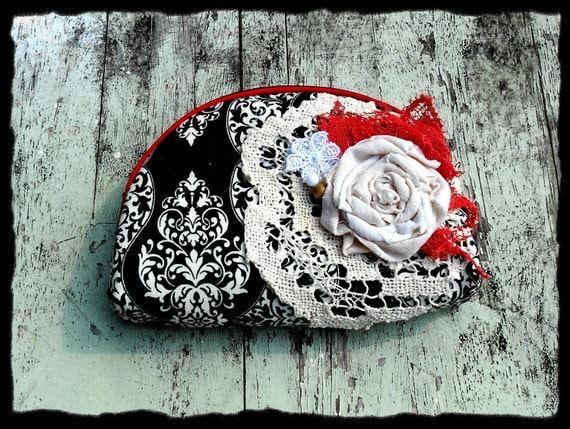 Bohemian Chic French INspired Womens and Girls Clothing and Accessories              Cosmetic purse clutch bag Shabby Chic french cottage french market Ladies accessory Red Black Creme brulee Vintage doily Embellished Fabric roses