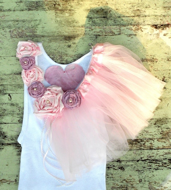 Womens Boudoir French Tutu tank top Tunic Fabric shabby chic roses Boutique Cottage pink Lilac Ivory Embellished
