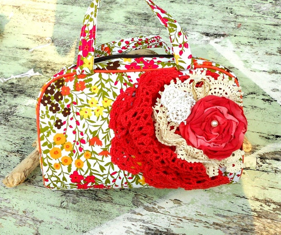 Romantic Shabby chic Embellished handbag Clutch Purse fabric rose French Market accessories country chic