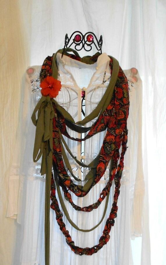 Bohemian gypsy bib necklace boho chic vintage halston free people woodland pixie jewelry