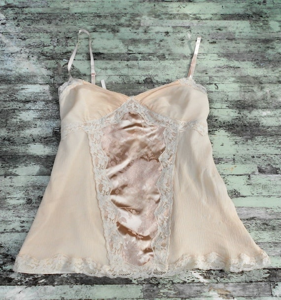 Upcycled Vintage Cami Tank Top Country chic Farmhouse ecru rose Large French country Girl Shirt Womens clothing