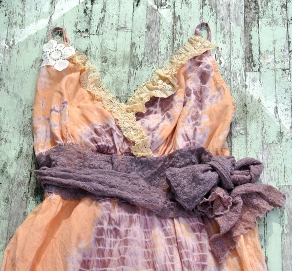 Rustic Gypsy Cowgirl Slip Dress Cottage chic Shabby chic lace hand dyed prairie girl ruffle dress Country chic Farmhouse girl XL