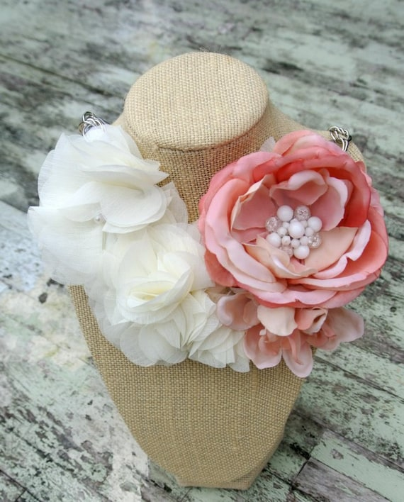 Romantic rose Statement Necklace Shabby chic Bib Necklace Farmgirl Wedding jewelry Bridal Necklace Spring Flowers
