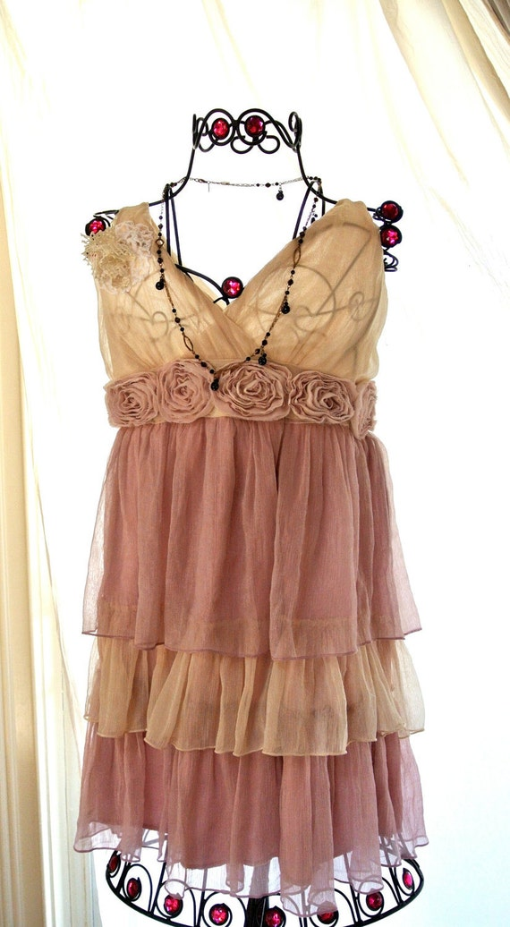 Romantic shabby chic pink ruffle dress by truerebelclothing - Shabby chic outfit ideas ...