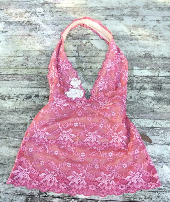 Spring French country PInk  lace Shirt Halter top Shabby chic lace blouse Spring Paris fashion Applique rose shirt Funky cottage chic