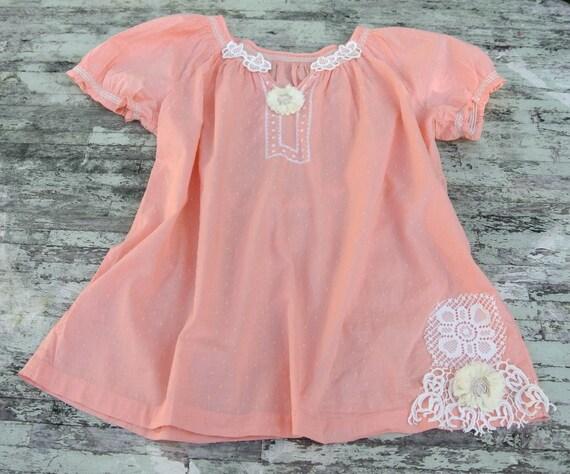 Peach boho chic shirt, funky hippie chic top, bohemian clothing, lace applique, womens clothing, beach