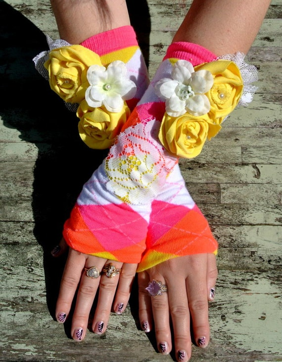 Easter Rose fingerless gloves Yellow pink Cottage chic Funky arm warmers Spring gypsy cowgirl rose leg warmers boho chic