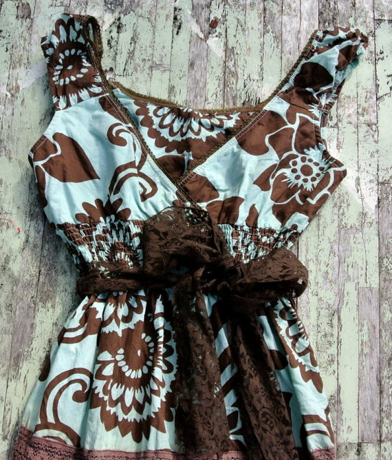 Rustic Gypsy Cowgirl Slip Dress Cottage chic Sun dress Shabby chic lace hand dyed prairie girl ruffle dress Country chic Farmhouse girl XL