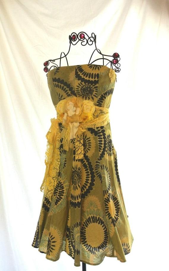 Urban Shabby chic Sundress, Yellow abstract funky strapless dress, Beach summer halter dress, Romantic Easter Dress