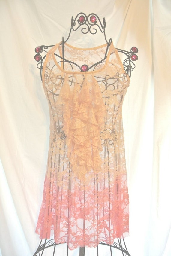 Dip dye lace tunic, romantic ruffle lace shirt, gypsy rose lace, country chic, cottage chic, boho, french country clothing