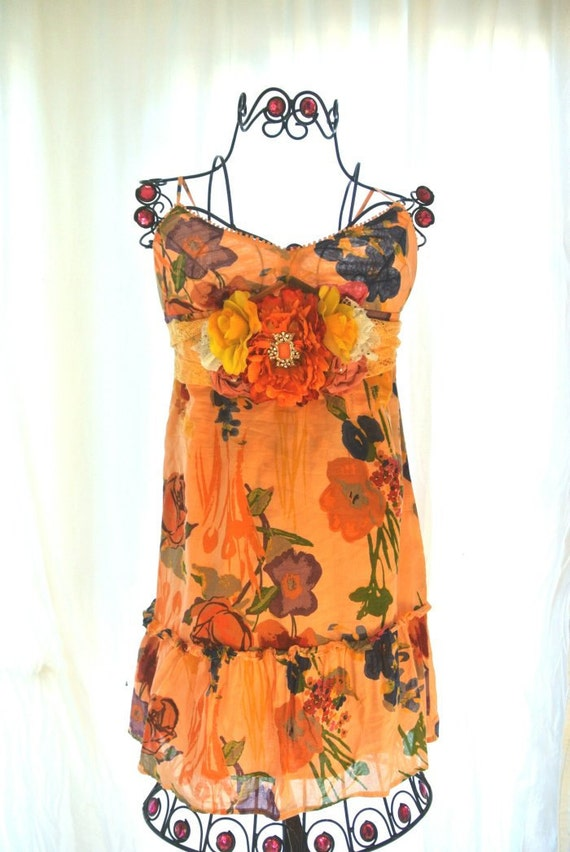 Romantic French country Garden Party Dress Shabby chic Gypsy Cowgirl Sundress dress Peach Cottage chic Girl floral