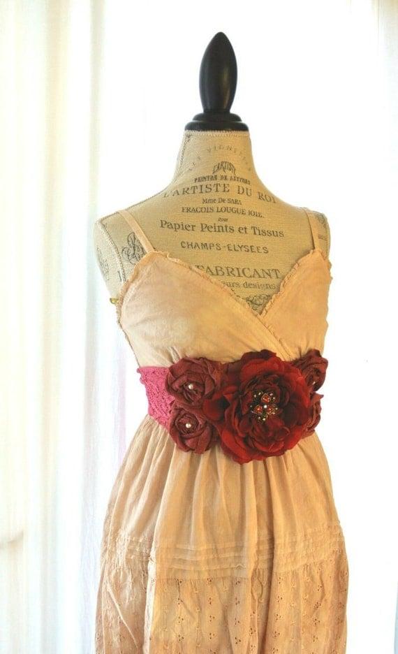 Gypsy cowgirl Slip Dress, romantic, boho, Farm Girl chic, vintage, tea stained, womens clothing, bohemain, beach, party dress, sundress