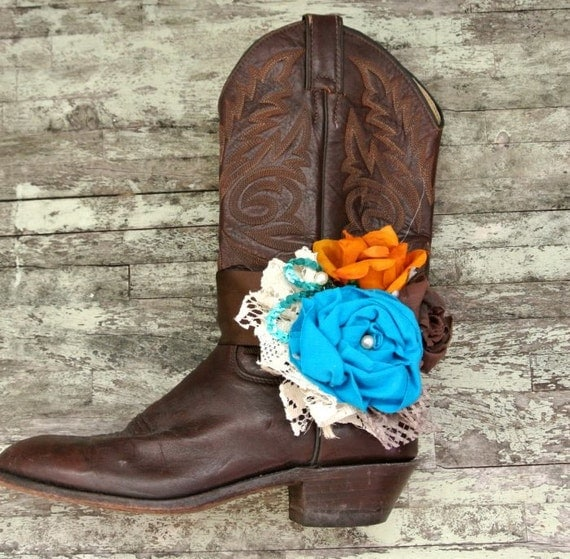 For Kristin pair of boot bracelets, teal brown, gypsy cowgirl, womens accessories
