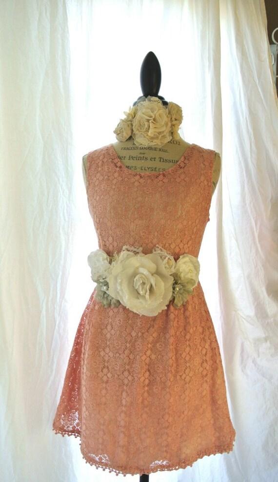Lace dress, jackie o mod dress, shabby peach, romantic womens clothing, cottage, party sundress