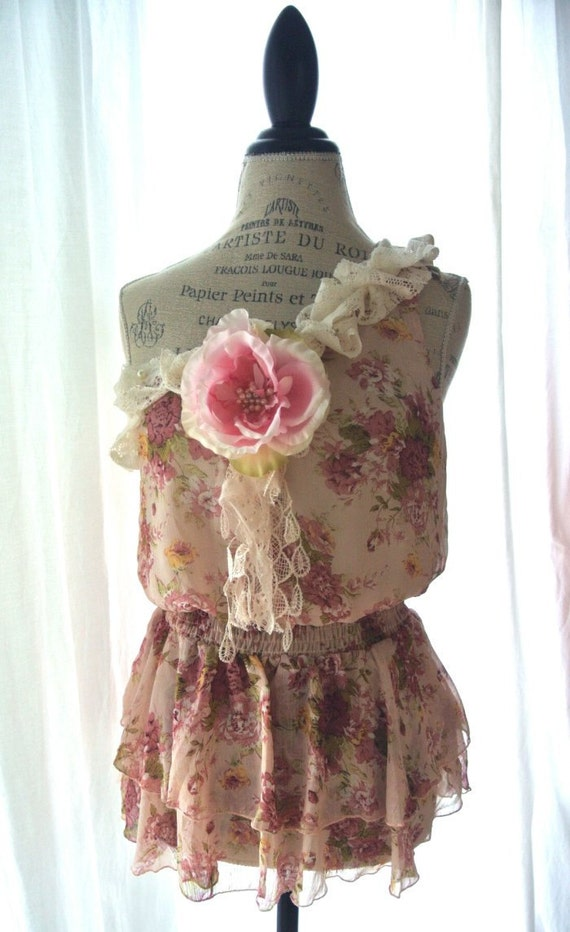 Romantic one shoulder shirt, shabby floral top, cottage chic rose blouse, womens clothing, french market