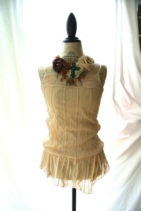 Farm girl lace shirt, shabby ecru, off white, womens clothing, rustic, cottage beach, gypsy cowgirl