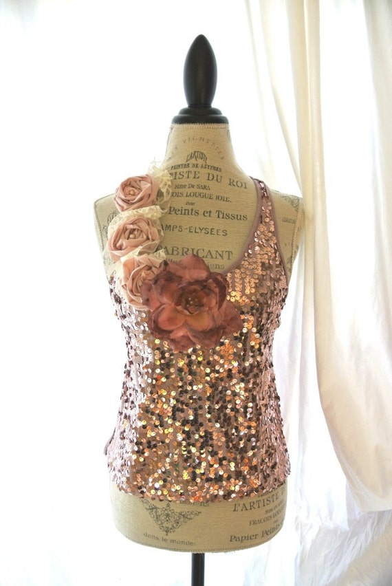 Pink romantic sequin shirt, upcycled clothing, cottage chic, paris runway, french market, womens clothing, gypsy cowgirl