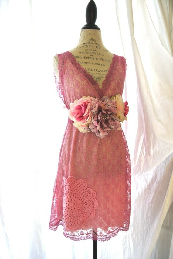 Shabby lace sundress, gypsy cowgirl chic, cottage, womens clothing, beach wedding, romantic pink, hand dyed
