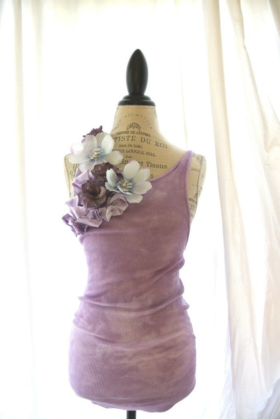 Floral tunic, dusty lilac, farmhouse style, shabby rose tank top, gypsy rose clothing, womens clothing