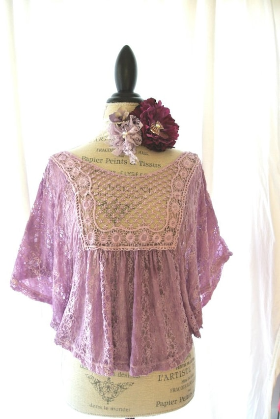 Gypsy rose shirt, lilac lace top, cottage butterfly top, shabby purple, womens clothing, romantic, english country