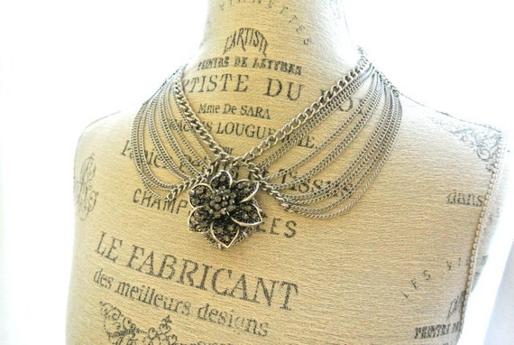 Peter pan collar necklace, chain choker, rustic, farmhouse, cottage, flower, womens jewelry, handmade
