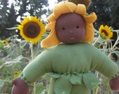 Waldorf Doll - Sunflower Child 14 inch Cuddle Doll - Ready to Ship