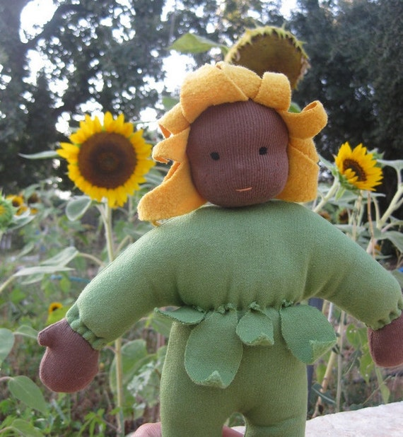 Waldorf Doll - Sunflower Child 14 inch Cuddle Doll - Ready to Ship