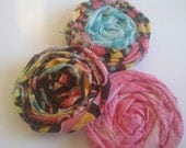 Shop Closing Clearance Sale -Set of 3 Handmade Folded and Rolled Frayed Fabric Flower Pin