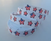 5 Yards 3/8 Inch Fourth of July Stars Grosgrain Ribbon Hairbows Korkers
