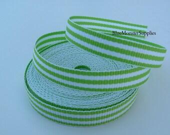 5 Yards 3/8 Inch Lime Stripe Grosgrain Ribbon