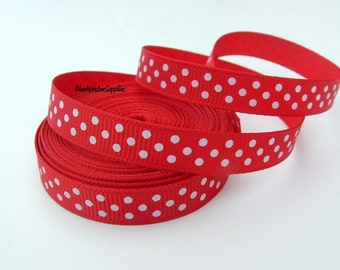 5 Yards 3/8 Inch Red with White Swiss Dots Grosgrain Ribbon