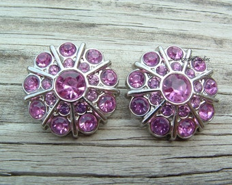 Set of 2 Pink Rhinestone Buttons FREE SHIPPING With 6 Or More Items